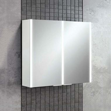 HiB Xenon 80 LED Illuminated Mirror Cabinet with Mirrored Sides - 820 x 700mm