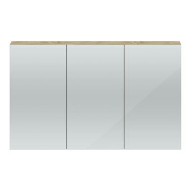 Hudson Reed 1350mm Mirror Cabinet - Natural Oak