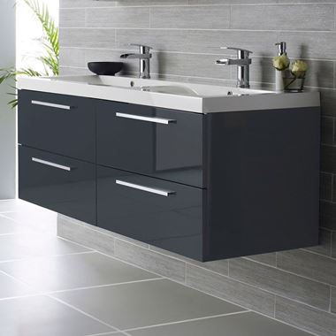 Hudson Reed Quartet 1440mm Wall Mounted Double Basin Vanity Unit - Grey Gloss