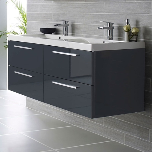 Hudson Reed Quartet 1440mm Wall Mounted Double Basin Vanity Unit Grey Gloss Drench