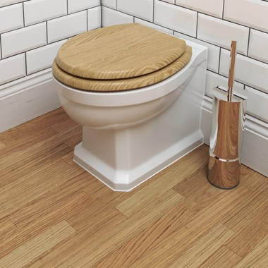 Imex Wyndham Traditional Back to Wall Toilet & Oak Seat - 540mm Projection