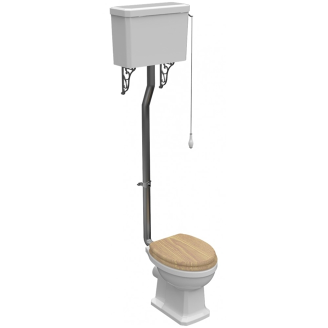 Imex Wyndham Traditional High Level Toilet & Oak Seat - 740mm Projection