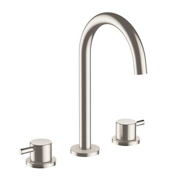 Inox Brushed Stainless Steel 3 Hole Deck Mounted Basin Mixer