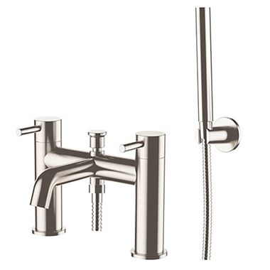 Inox Brushed Stainless Steel Deck Mounted Bath Shower Mixer with Shower Kit