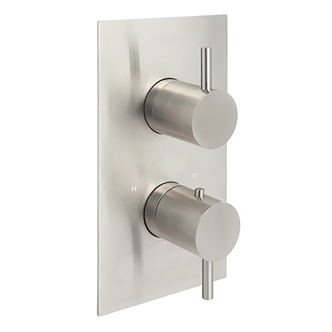 Inox Brushed Stainless Steel Thermostatic Concealed 3 Outlet Shower Valve