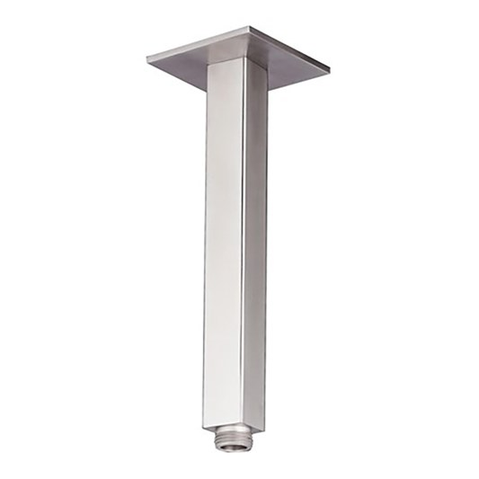 Inox Brushed Stainless Steel Square Ceiling Shower Arm - 200mm