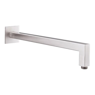 Inox Brushed Stainless Steel Square Wall Shower Arm - 400mm
