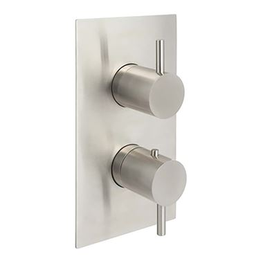 Inox Brushed Stainless Steel Concealed Thermostatic 2 Outlet Valve