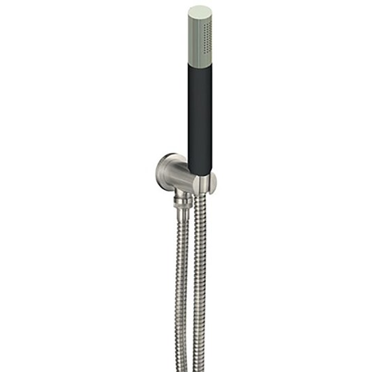 Inox Brushed Stainless Steel Round Water Outlet & Holder with Metal Hose & Slim Black Hand Shower