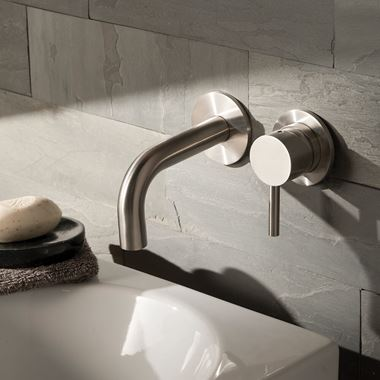Inox Brushed Stainless Steel Wall Mounted Single Lever Basin Mixer