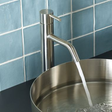 Inox Brushed Stainless Steel Tall Single Lever Basin Mixer