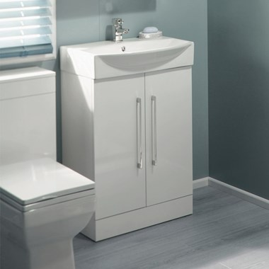 Vellamo Aspire Compact Floorstanding 2 Door White Vanity Unit & Basin - 605mm