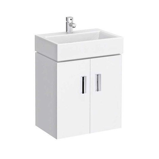 Jack 450mm Wall Mounted Gloss White Vanity Unit & Basin