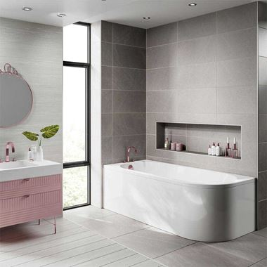 Jasmine Corner Back to Wall J Shaped Shower Bath & Panel - 1700 x 750mm