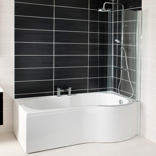 Jonathan P-Shaped Shower Bath with Screen & Front Panel - 1700 x 850mm
