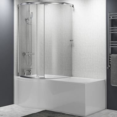Jonathan P-Shaped Enclosed Shower Bath with Screen & Front Panel - 1500 x 700mm