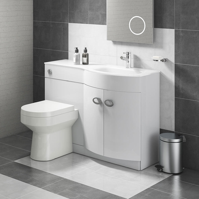 Lorraine Combination Bathroom Toilet & Right Hand Sink Unit - White Gloss