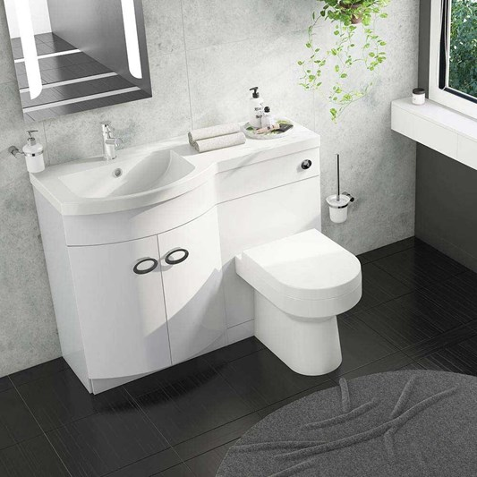 Lorraine Combination Bathroom Toilet & Left Hand Sink Unit - White Gloss