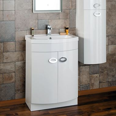 Lorraine 600mm Floorstanding Vanity Unit & Basin - White Gloss