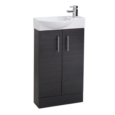 Maisie 500mm Cloakroom 2 Door Vanity Unit with Oversized Basin - Black Ash