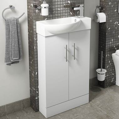 Maisie 500mm Cloakroom 2 Door Vanity Unit with Oversized Basin - White Gloss