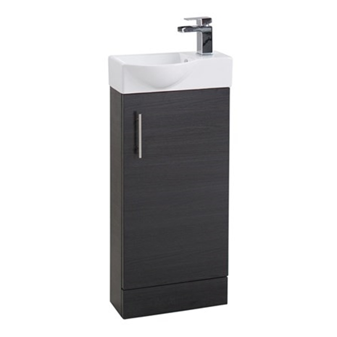 Maisie 400mm Cloakroom Vanity Unit with Oversized Basin - Black Ash