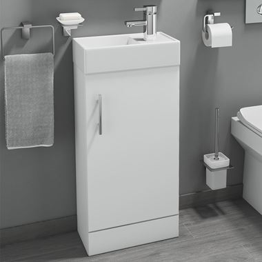 Maisie Compact 400mm Mini Cloakroom Vanity Unit & Basin - White Gloss