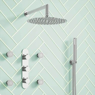 Megan Concealed Thermostatic Shower Valve, Fixed Shower Head, Handset & Body Jets