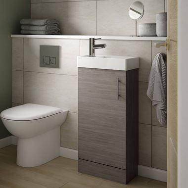 Minnie 400mm Floorstanding Cloakroom Vanity Unit & Basin - Grey Avola