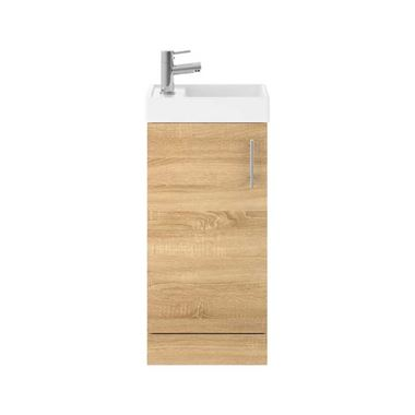 Minnie 400mm Floorstanding Cloakroom Vanity Unit & Basin - Natural Oak