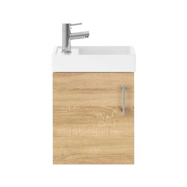 Minnie 400mm Wall Mounted Cloakroom Vanity Unit & Basin - Natural Oak