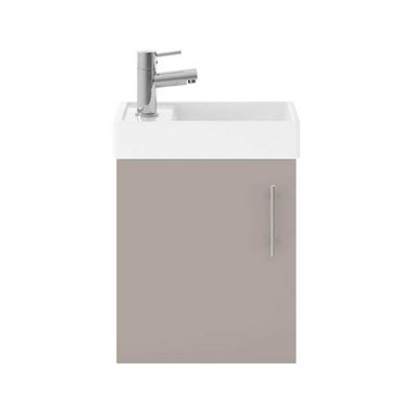 Minnie 400mm Wall Mounted Cloakroom Vanity Unit & Basin - Matt Stone Grey