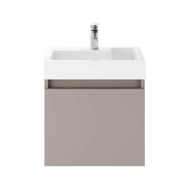 Minnie 500mm Wall Mounted 1 Door Vanity Unit & Polymarble Basin - Matt Stone Grey