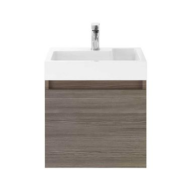 Minnie 500mm Wall Mounted 1 Door Vanity Unit & Polymarble Basin - Grey Avola