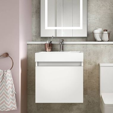 Minnie 500mm Wall Mounted 1 Door Vanity Unit & Polymarble Basin - Gloss White