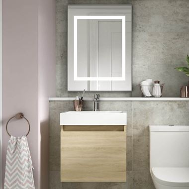 Minnie 500mm Wall Mounted 1 Door Vanity Unit & Polymarble Basin - Natural Oak