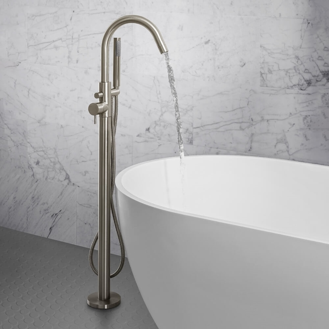 Crosswater MPRO Floorstanding Bath and Shower Mixer Tap - Brushed Stainless Steel