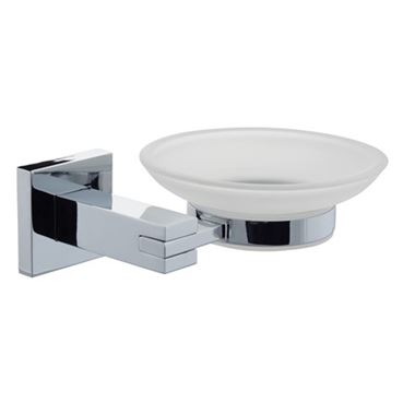 Pierre Frosted Glass Soap Dish & Holder