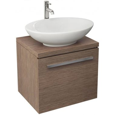 Pura Bloque Soft Oak Wall Hung Vanity Unit - 470mm