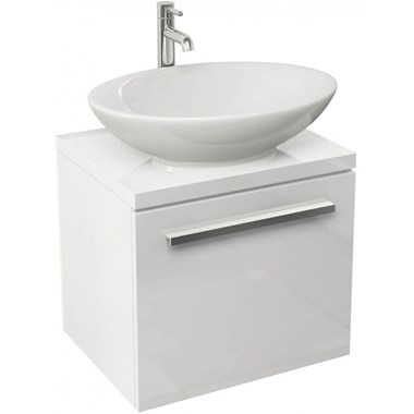Pura Bloque White Wall Hung Vanity Unit - 470mm