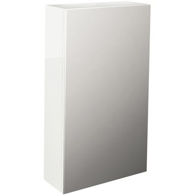 Pura Echo 400mm Single Door Mirrored Cabinet - White Gloss