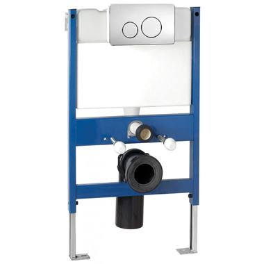 Pura Reduced Height Wall Hung Toilet Frame System with Front Mounted Dual Flush Plate