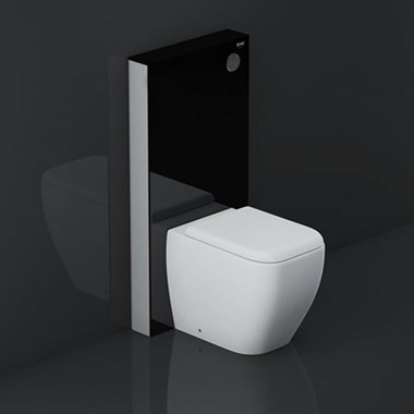 RAK Obelisk Glass Cabinet Cistern Frame for Back to Wall Toilets - Gloss Black