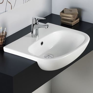 RAK Tonique 520mm Semi Recessed Basin with 1 Tap Hole