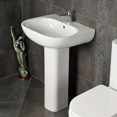 RAK Tonique 450mm 1 Tap Hole Basin & Pedestal
