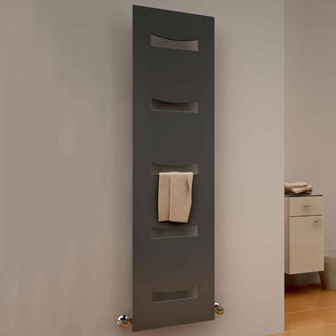 Reina Ancora Designer Steel Bathroom Heated Towel Ladder Radiator - Anthracite - 1800x490