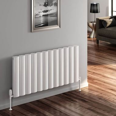 Reina Belva Aluminium Single Panel Horizontal Designer Radiator - White