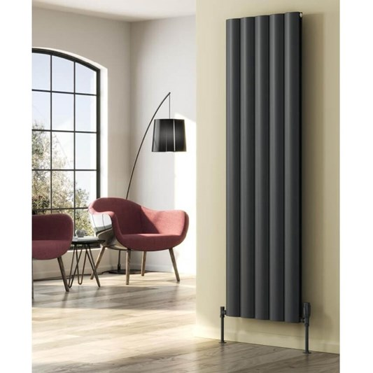 Reina Belva Aluminium Single Panel Vertical Designer Radiator - Anthracite
