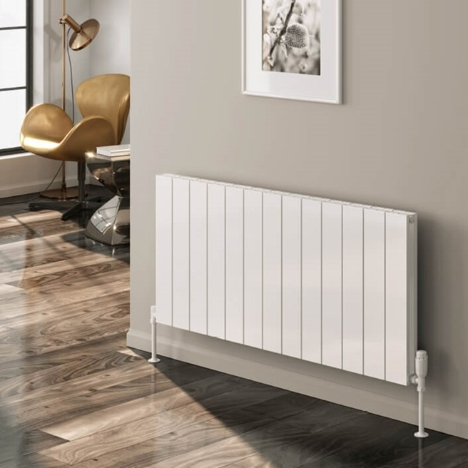 Reina Casina Aluminium Double Panel Horizontal Designer Radiator - White