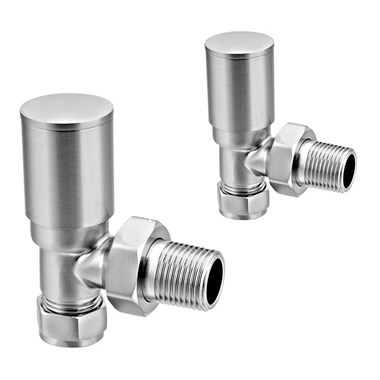 Brenton Chrome Round Angled Radiator Valves - Brushed